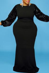 Black Elegant Solid Split Joint  Sequins O Neck Long Sleeve Plus Size Dresses