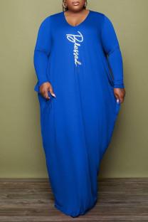 Blue Casual Print Split Joint Fold O Neck Long Sleeve Plus Size Dresses