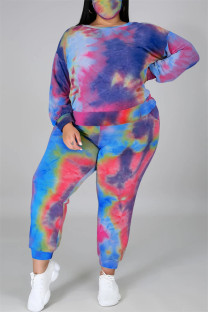 Blue Red Fashion Casual Print Tie Dye Backless O Neck Plus Size Two Pieces