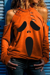 Black Orange Street Print Ripped Hollowed Out Split Joint O Neck Tops