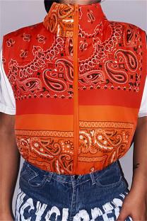 Orange Fashion Casual Print Split Joint Zipper Collar Outerwear