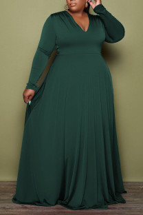 Ink Green Casual Elegant Solid Split Joint V Neck A Line Plus Size Dresses