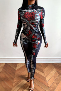 Black Fashion Print Basic Half A Turtleneck Skinny Jumpsuits