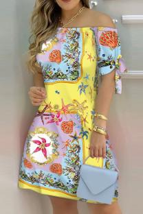 Yellow Fashion Casual Print Bandage Off the Shoulder Short Sleeve Dress Dresses