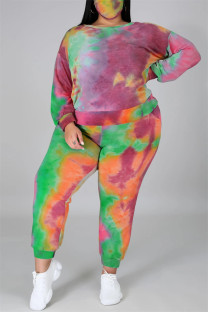 Multicolor Fashion Casual Print Tie Dye Backless O Neck Plus Size Two Pieces