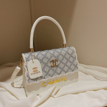 White Fashion Street Letter Hot Drill Bags