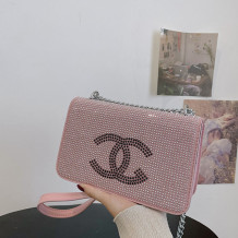 Pink Fashion Casual Letter Hot Drill Bags