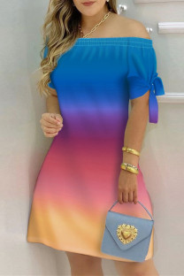 Blue Fashion Casual Print Bandage Off the Shoulder Short Sleeve Dress Dresses
