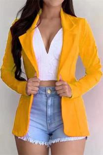 Yellow Fashion Casual Solid Cardigan Turndown Collar Outerwear
