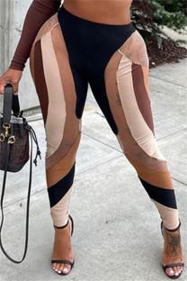 Coffee Fashion Casual Print Split Joint Skinny High Waist Pencil Trousers
