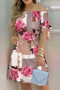 Rose Red Fashion Casual Print Bandage Off the Shoulder Short Sleeve Dress Dresses