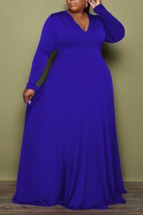 Deep Blue Casual Elegant Solid Split Joint V Neck A Line Plus Size Dresses