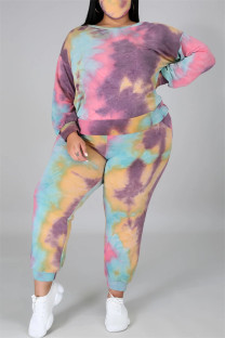 Pink Purple Fashion Casual Print Tie Dye Backless O Neck Plus Size Two Pieces
