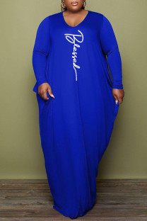 Deep Blue Fashion Casual Print Basic V Neck Long Sleeve Plus Size Dresses