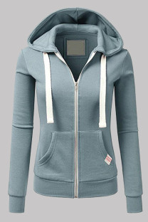 Light Blue Fashion Casual Solid Split Joint Zipper Hooded Collar Outerwear