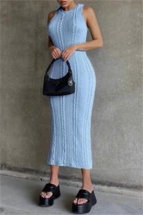 Sky Blue Sexy Casual Solid Basic O Neck Vest Dress