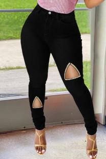 Black Fashion Casual Solid Ripped High Waist Regular Denim Jeans