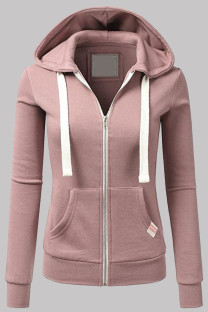 Pink Fashion Casual Solid Split Joint Zipper Hooded Collar Outerwear