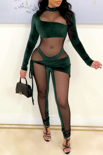 Ink Green Fashion Sexy Patchwork See-through Asymmetrical Half A Turtleneck Skinny Jumpsuits