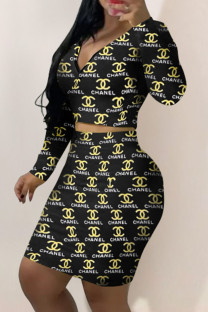 Yellow Fashion Sexy Print Split Joint V Neck Long Sleeve Two Pieces