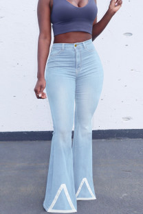 Baby Blue Fashion Casual Solid Split Joint High Waist Boot Cut Denim Jeans
