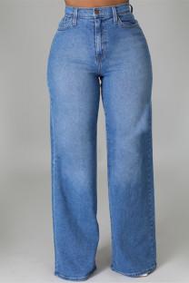 Medium Blue Fashion Casual Solid Basic High Waist Regular Denim Jeans
