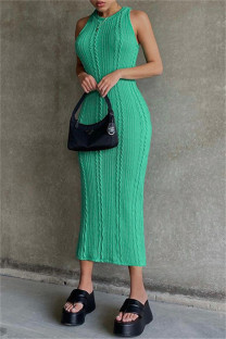 Green Sexy Casual Solid Basic O Neck Vest Dress