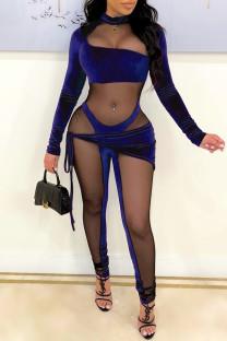 Royal Blue Fashion Sexy Patchwork See-through Asymmetrical Half A Turtleneck Skinny Jumpsuits
