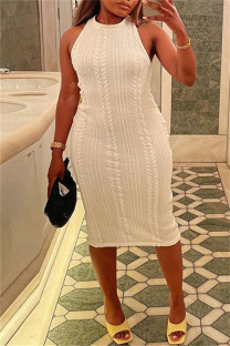 White Sexy Casual Solid Basic O Neck Vest Dress