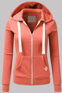 Orange Fashion Casual Solid Split Joint Zipper Hooded Collar Outerwear