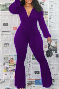 Purple Fashion Casual Solid Bandage V Neck Boot Cut Jumpsuits