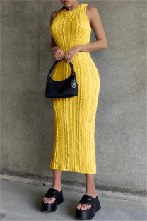 Yellow Sexy Casual Solid Basic O Neck Vest Dress
