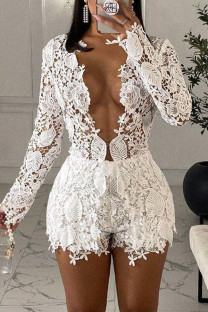 White Fashion Sexy Solid Hollowed Out See-through V Neck Long Sleeve Two Pieces