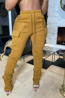 Brown Fashion Casual Solid Split Joint Regular High Waist Conventional Solid Color Bottoms