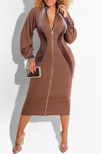 Brown Fashion Casual Solid Split Joint Zipper Collar Long Sleeve Dresses