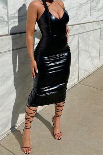Black Fashion Sexy Solid Backless Spaghetti Strap Long Dress
