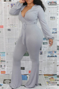 Grey Fashion Casual Solid Bandage V Neck Boot Cut Jumpsuits