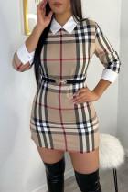 Khaki Fashion Casual Plaid Print Split Joint Turndown Collar Long Sleeve Dresses (Without Belt)
