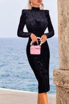 Black Celebrities Print Leopard Half A Turtleneck One Step Skirt Dresses