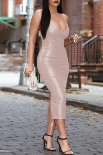 Bare Color Fashion Sexy Solid Backless Spaghetti Strap Long Dress
