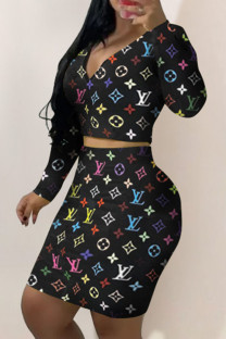 Colour Fashion Sexy Print Split Joint V Neck Long Sleeve Two Pieces
