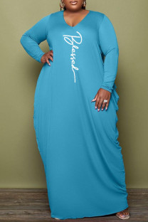 Light Blue Fashion Casual Print Basic V Neck Long Sleeve Plus Size Dresses