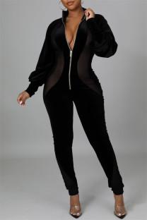 Black Fashion Casual Solid Split Joint Zipper Collar Regular Jumpsuits