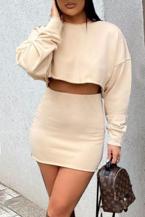 Cream White Casual Solid Split Joint O Neck Long Sleeve Two Pieces