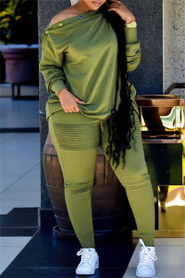 Green Fashion Casual Solid Split Joint Oblique Collar Plus Size Two Pieces