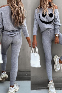 Grey Casual Print Split Joint Off the Shoulder Long Sleeve Two Pieces