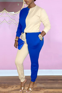 Blue White Casual Solid Split Joint O Neck Long Sleeve Two Pieces