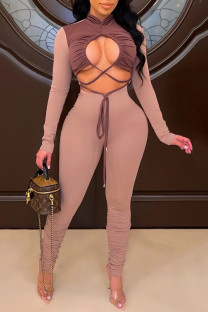 Brown Sexy Solid Hollowed Out Split Joint Frenulum Fold Half A Turtleneck Regular Jumpsuits
