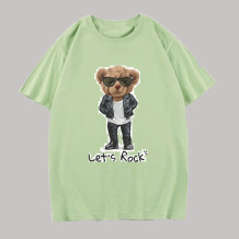 Light Green Fashion Casual Character Split Joint O Neck Tops