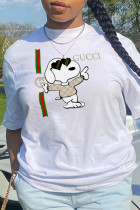 White Street Daily Print Split Joint O Neck T-Shirts